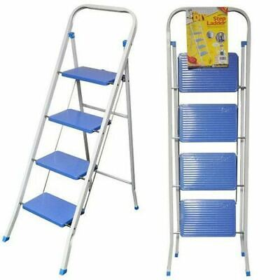 Powder Coated Square Tubed 4 Tier Step Ladder Blue And White Portable