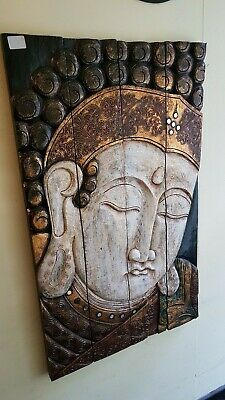 LARGE WOODEN PAINTED BUDDHA WALL HANGING CARVING 100cmx59cm - FREEPOST UK