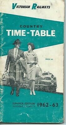 Nov 1962 VICTORIAN COUNTRY TIMETABLE