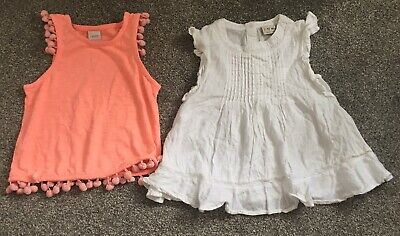 2 X Girls Summer Tops From Next. Coral Pink And White Linen Age 3 Years
