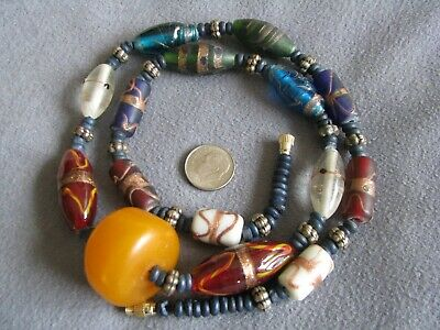 """25"""" Vintage African Amber Trade and Glass Wedding Cake Bead Necklace"""
