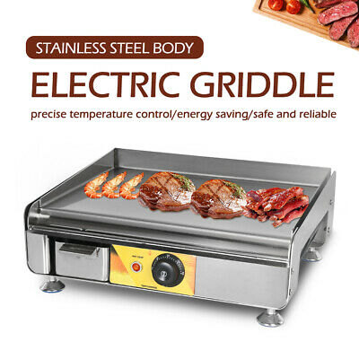 Commercial Electric Countertop Griddle Stainless Steel Barbecue Grill 50-300℃ CE
