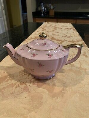 1950's Numbered Sadler Pink Chinz Rose Flowers Full Size Fine China Teapot, Made