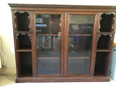Victorian Mahogany Glazed Bookcase Display Cabinet