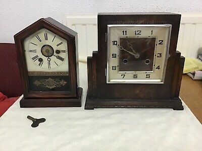 Two antique/vintage mantel clocks German&English spares or repair with keys