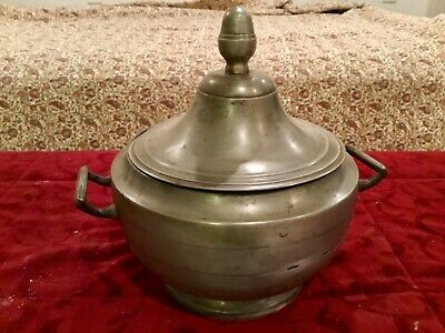 LARGE Antique FRENCH Pewter Lidded Serving Pot w/Two Side Handles