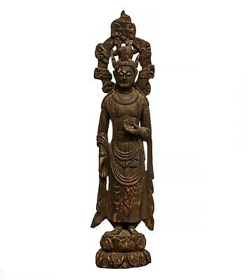 A Chinese Wooden Carved Sculpture of Guanyin Buddha