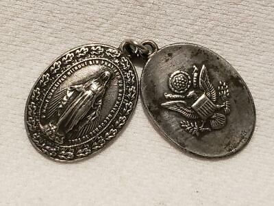 Vintage Wwii Gi Miraculous Sterling Silver Medals Catholic Pendants Fobs (Named)