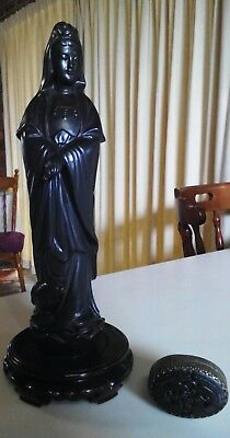 BLACK NOIR ASIAN ANTIQUES:Exquisite Ceramic KWAN-YIN Figurine +PHOENIX Snuff BOX