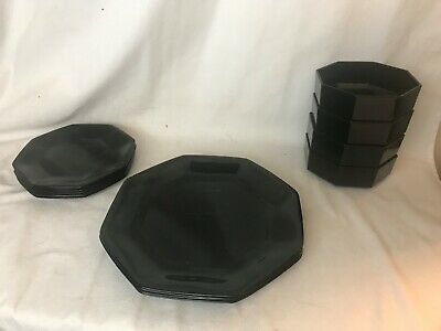 "Arcoroc Arcopal France Black Glass Octagon ""Octime"" Dinner/Salad Plate Bowl Set"