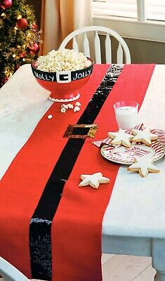 Mud Pie MH6 Holiday Christmas Kitchen Dining Santa Belt Sequin Runner Size 14x68