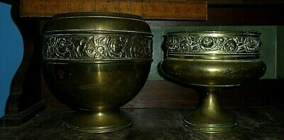 2 antique Brass pots - Jardinaire pot & Roman style pedestal pressed Roses gc