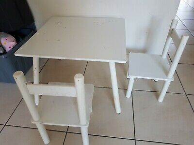 White Wooden Art Craft Table and 2 Chairs Set for Kids Children Toddler