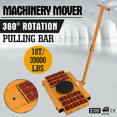 18T/39000LBS Machinery Mover Roller Dolly Skate w/360° Swivel Top Plate