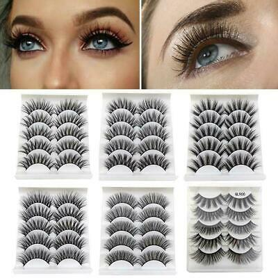 5Pairs 3D Faux Mink Hair False Eyelashes Extension Wispy Fluffy Think Lashes