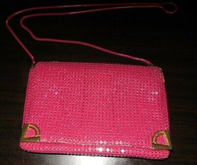 Glomesh style vintage shoulder bag with long chain handle - VGC  Maroon