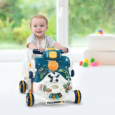 Remote Control Baby Walker Kid Toddler W/Musical Learning First Step Push /Blue