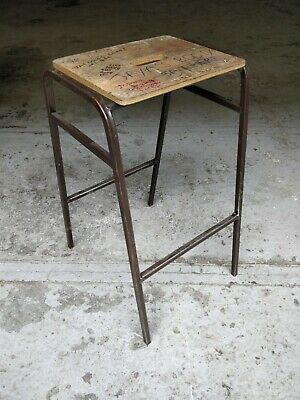 Vintage Graffitied Stacking School Lab Stool by Remploy - Cafe Bar