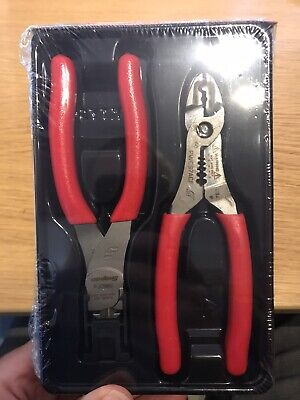 Snap On Flush Cutting And Stripper Crimping Cutter Pliers Set In Red NEW