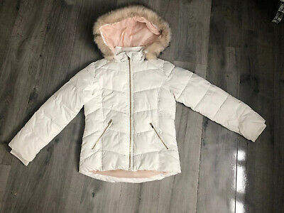 River Island Winter Quilted Coat White Age 9-10 Years Faux Fur Hoodie Zip