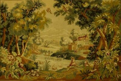 Superb Vintage French Tapestry Wallhanging, 18th C Scene 'Paysage Du Lauragais'