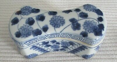 Chinese Porcelain Blue and White Ingot Ink box, Antique Reproduction