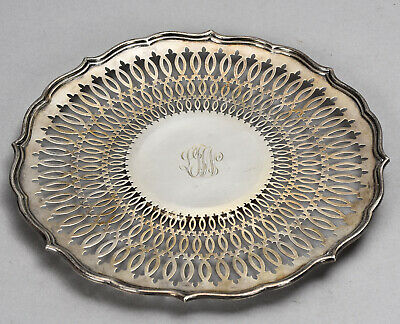 """Vintage Silver-Plated 10"""" Round Georgian Style Reticulated Salver Tray w/ Mono"""