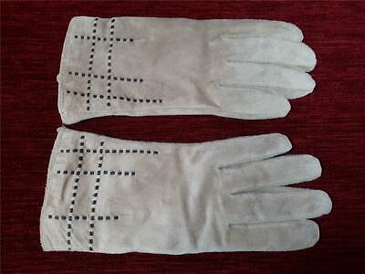 Vintage Gloves Soft beige suede or suede style fabric Stitched detail