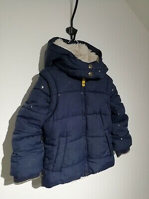 Mini Boden Girl Age 2-3 Years Navy Blue Spotted 3In1 Puffa Coat Fur Lined Hooded