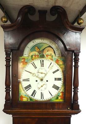 Antique Grandfather Clock English Moonroller 8 Day Mahogany & Oak Longcase Clock