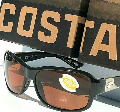 NEW* COSTA INLET Black polished POLARIZED Green Rose 580P Womens Sunglass IT 11