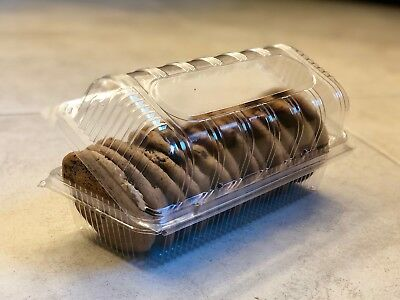 600 Pcs - Plastic Hinged Lid Food Container, Cupcake, Cookies, Sandwich