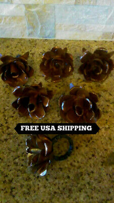 SIX Iron Rusty Rose Napkin Rings. Hacienda, Rustic, Handmade, Kitchen decor, NEW