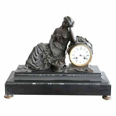 19th Century Table antique Clock in Black Marble and Bronze
