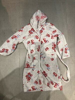 Girls John Lewis Age 10 Yrs White And Pink Flowery Dressing Gown