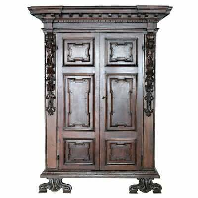 Late 16th Century  Louis XIV Hand Carved Walnut antique Wardrobe or Armoire