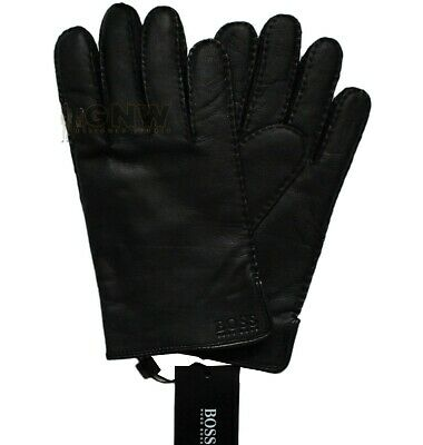 HUGO BOSS MEN LEATHER GLOVES 'KRANTON' Black/ Brown Size 8 - 9.5 NEW