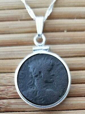 Emperor Caligula Authentic Ancient Roman Bronze Coin 925 Solid Silver Necklace