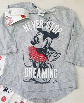 Girls never stop dreaming Minnie Mouse 2 Piece Pyjamas Set,bnwt,5-6,f&f,present!
