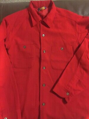 Men's VTG 50-60's Loop Over Wool BUTTON FRONT SHIRT Long Sleeve Pendleton Red  L