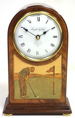 Golfing Rosewood inlaid Arched Top Shaped Mantel Clock - Knight & Gibbins London