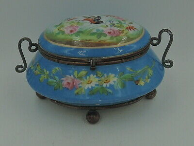 Antique French Ormolu Handled Blue Porcelain Jewelry Box Jar w/Pink Roses Bird