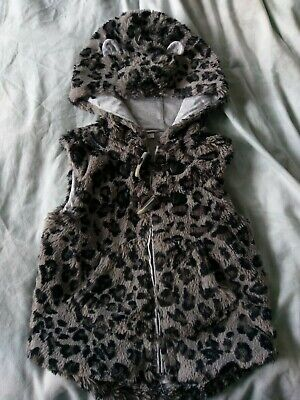"""Girls Next """"Leopard"""" Print Detailed Faux Fur Hooded Gillet  Age 2-3 Years"""