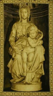 Stunning Vintage French Tapestry, Architectural Religious Statue Madonna & Child