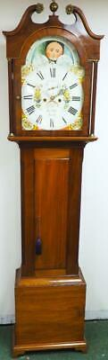 Antique Grandfather Clock Scottish Moonroller 8 Day Walnut Kelso Longcase Clock