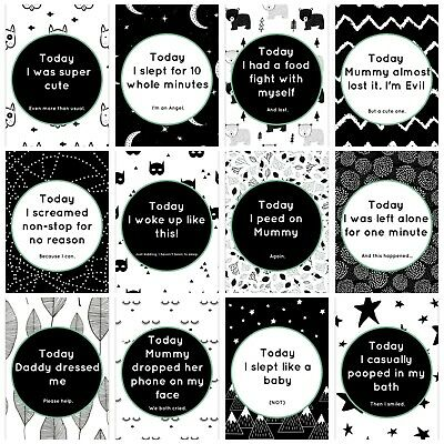 Baby Milestone Cards - 24 Cute & Funny Designs - Parents with a Sense of Humour!