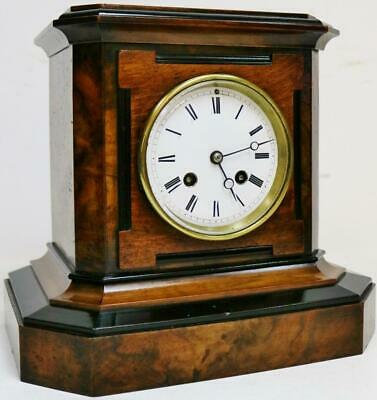 Beautiful Antique French 8 Day Bell Striking Walnut & Ebonised Mantel Clock