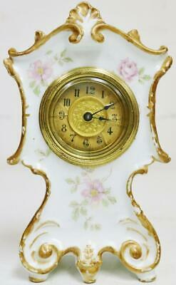 Small Antique English Hand Painted Porcelain Rococo Timepiece mantel Clock