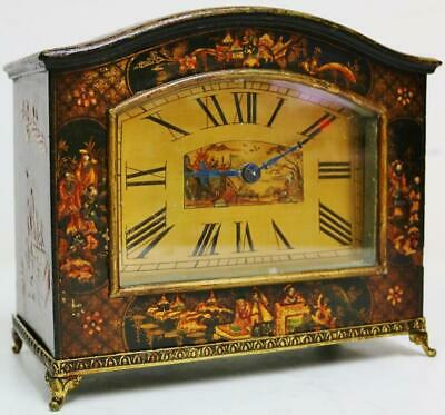 Antique French Black Lacquered Chinoiserie Mantel Desk Clock Platform Escapement