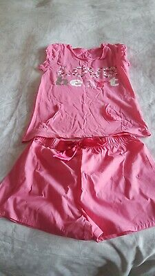 Girls Short Pink Pyjamas Age 11 - 12 From Marks And Spencer Brand New